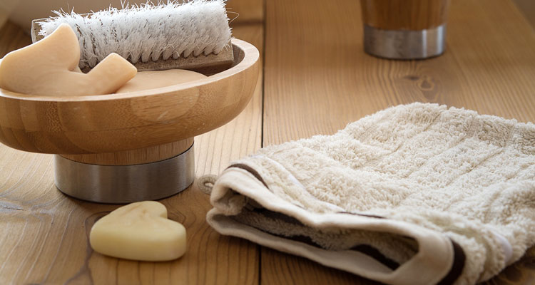 castile soap and washcloth